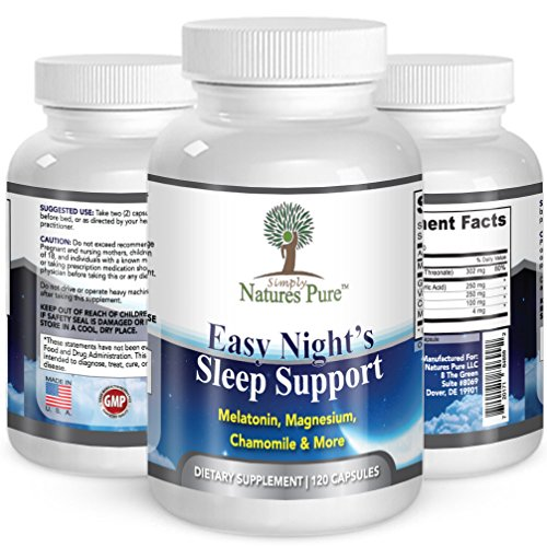 Simply Nature's Pure – Easy Night's Sleep Support – Natural Sleep Supplement – Magnesium – Valerian Root – Chamomile – Melatonin – Vegetable Capsule – Assist Drug-Free Sleep