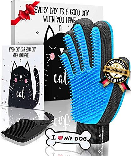 LÖWENKÖNIG® Innovativer 3in1 Haustier Bürstenhandschuh I I Fellpflegehandschuh I Katzenbürste I Enthaarungs-Bürste Fellbürste für Hunde-Katzenhaare I Katzen-Zubehör