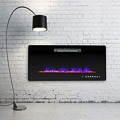 KUPPET Electric Fireplace, Wall Freestanding Mounted Recessed Electric Fireplace Insert, LED Fireplace Heater, Remote Control with Timer, Touch Screen, Adjustable Flame Colors and Speed (50Inches)