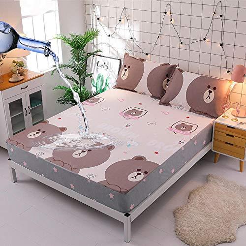 GmanXier Bed Cover,wasserdichte Spannbetttücher, feuchtigkeitsbeständige Tagesdecke für Kinder, Matratzenbezug, einfacher Druck, geeignet für EIN Doppelbett-E_135 * 200 cm