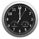 bonvivo TIMERIDER Orologio da Parete Radiocomandato Ad Alta Precisione, Orologio da Parete Silenzioso in Alluminio per Aalotto, Cucina O Ufficio (30.5cm) Orologio con Termometro E Igrometro