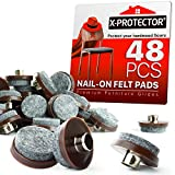 Nail On Felt Pads X-Protector - 48 Felt Furniture Pads – 1' Chair Felts Pads for Furniture Feet - Floor Protectors for Furniture Legs - Best Heavy Duty Felt Chair Pads for Hardwood Floors!