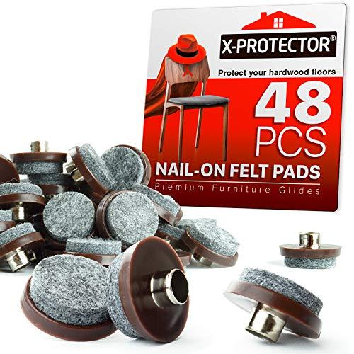 Filzgleiter zum Aufnägeln – 48 Filz-Möbelpads – 2,5 cm Stuhlfilz Pads für Möbelfüße – Bodenschoner für Möbelbeine – beste strapazierfähige Filz-Stuhlpads für Hartholzböden.