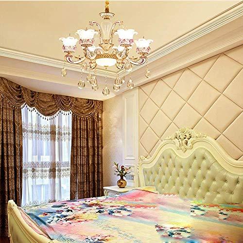 YANQING Duurzame Hanglamp Europese Kaars Kristal Kroonluchter Roze Bloem LED Plafond Lamp Warm Licht E14 * 6 Creatieve Mode Woonkamer Hotel Villa 65 * 65 * 52cm Hanglamp