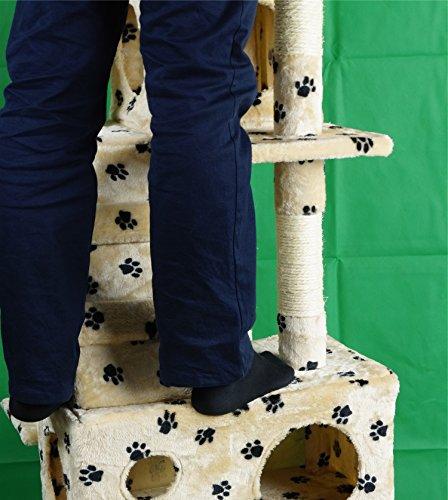 Lethzer Kratzbaum Katzenbaum Katzenkratzbaum mit Höhle Kletterleiter Liegeplattform Spielelemente 175cm hoch in Farbe Braun mit Pfotenabdruck - 6