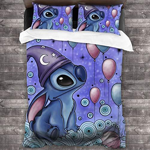 GmCslve Stitch Lilo Bedding Collection Juego de cama de lujo de 3 piezas, microfibra ultra suave, 86 x 70 pulgadas, funda de edredón cómoda con dos fundas de almohada