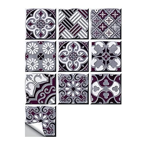 ESORST 10 unids/Set Ornamento Floral Piso de la Pared Pegatina de la Pared Cocina Cerámica Cerámica Calcomanías de la Pared Impermeable Crystal Tile Art Mural (Color : U, Size : 10cmX10cmX10pcs)