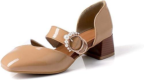 Damenschuhe Calzado de damen, schuhe de Farbe a la Moda con tacón y Hebilla Cuadrada con Sandalias Huecas para damen,A,35