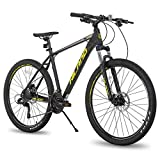 Hiland 27.5 Inch Mountain Bike 27-Speed MTB Bicycle for Man with 19.5 Inch Frame Suspension Fork Urban Commuter City Bicycle Black