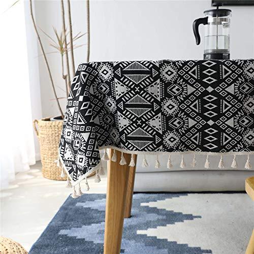 NOBRAND Mantel de Lino de algodón Estampado geométrico Negro Rectangular a Prueba de Polvo Cubierta de Mesa de café Decoración de Sala de Estar de Tela