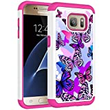 Vavies Case for Galaxy S7, Galaxy S7 Phone Case for Girls Women, Shock Absorption Dual Layer Heavy Duty Protective Cover Rugged Cases for Samsung Galaxy S7 (Butterfly)