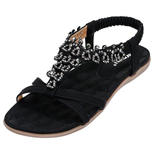 SANMIO Damen Sandalen, Frauen Sandals Bohemian Strass Flach Sandaletten Sommer PU Leder Zehentrenner 39 EU / Etikettgröße 40