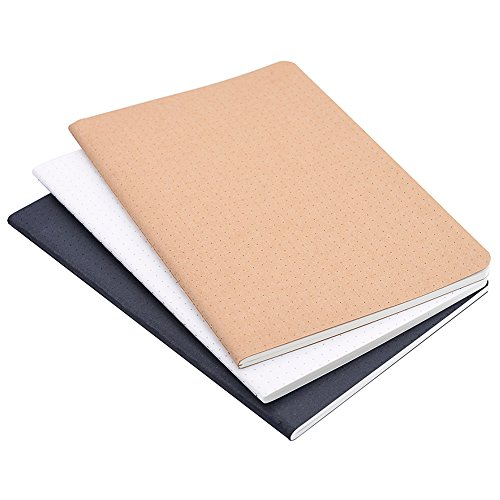 (Set of 3) A5 Dotted Notebook/Travel Journal - 5.5 x 8.25 Dot Grid Paper for Bullet Notes Journaling, Total 120 Sheets/240 Pages, Black/White/Kraft Brown Cover