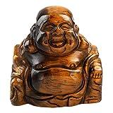 Nupuyai - Figura de Buda sonriente con piedras preciosas y cristal de la suerte, Ojo de tigre