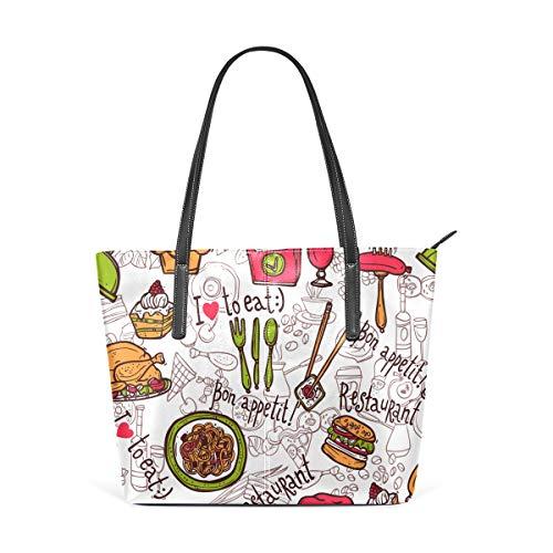 AMONKA Restaurant-Tasche, Pommes-Motiv, für Burger, Kuchen, Getränke, Skizzen, modische Leder-Schultertasche für Damen und Mädchen