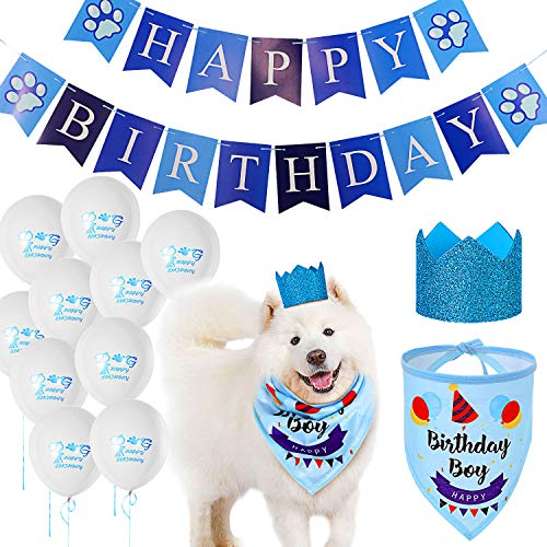 Dog Birthday Bandana Set, Dog Birthday Bandana Dog Birthday Hat Banner and 10 Pieces 12 Inches Dog Birthday Balloons, Cute Dog Birthday Party Supplies Decorations for Small Medium Large Dog (Boy)