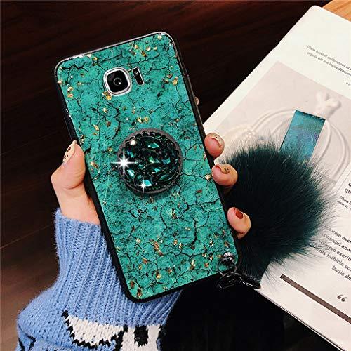 Karomenic Silikon Hülle kompatibel mit Samsung Galaxy A5 2017 Bling Glänzend Glitzer Strass Schutzhülle Weiche TPU Handyhülle mit Diamant Ring Ständer Haarball Stoßfest Tasche Bumper Case,Grün