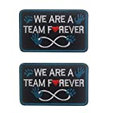 Service Dog Patch We are A Team Forever Emblem Embroidered Fastener Hook and Loop Patches for Vests, Harnesses 3.15 x 1.97 Inch Bubble of 2 Pieces
