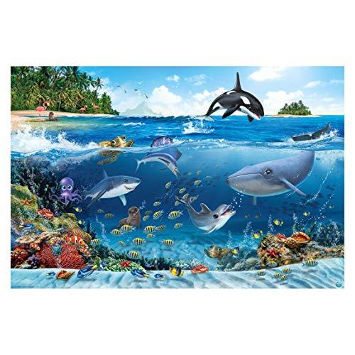 Vliestapete - Unterwasserwelt mit Tieren - Fototapete Breit 190 x 288 cm