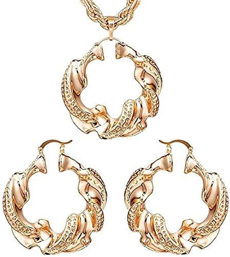 Aluyouqi Co.,ltd Collar Pendientes de aro Grandes Colgantes Mujeres S Joyas s Cobre Color Oro Rosa s para Fiesta Boda Longitud Diaria Collar de 45 cm