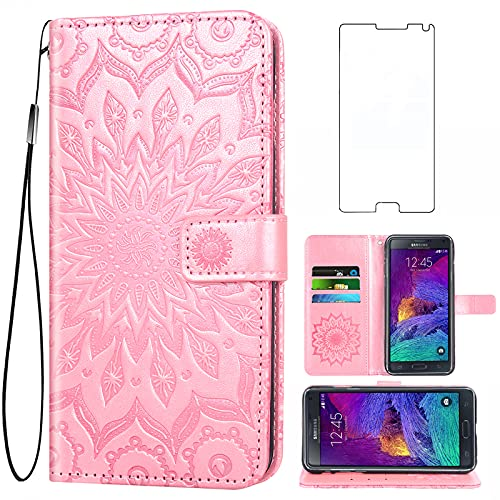 Phone Case for Samsung Galaxy Note 4 Wallet Cases with Tempered Glass Screen Protector Leather Slim Flip Cover Card Holder Stand Accessories Glaxay Note4 Gaxaly N910A Not Notes Four Women Rose Gold