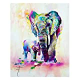 African Elephant Canvas Prints Wall Art Abstract Poster Oil Painting Modern Art Decor Painting for Living Room Bedroom Home Decorations(Unframed,16x20inches)