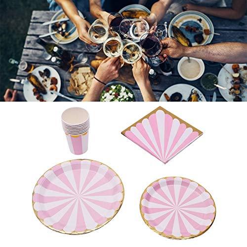 Juego de suministros para fiestas, vajilla, patrón de flor de ciruelo, azul sin lavado, para fiesta infantil, boda, fiesta de cumpleaños(Plum pink)