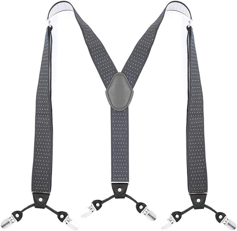 Booluee Mens Suspenders 6 Metal Clips Y Back Style Suspenders Wide Adjustable Elastic Braces