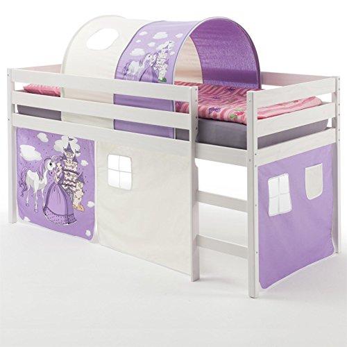 IDIMEX Hochbett Abenteuerbett Spielbett Erik, mit Vorhang und Tunnel Prinzessin, Kiefer massiv in weiß lackiert, 90 x 200 cm
