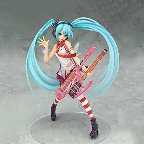 CSH-Gitarre Spielen Miku Virtuelle Idol Sänger Miku Figur Sammler PVC Modell Home Office anzeigen 7,08 Inches