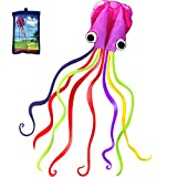 Hengda Kite Software Octopus Flyer Kite with Long Colorful Tail for Kids, 31-Inch Wide x 157-Inch Long, Large, Purple