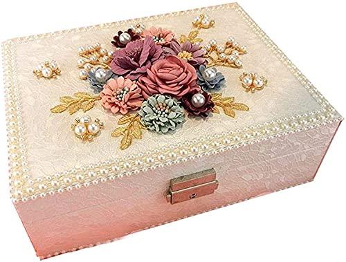 OH Jewelry Storage Organizer Showcase Lock Locker Leather Jewelry Box Handmade Travel Jewelry Box Storage Box Rack Jewelry Stand Holder Fashion/White