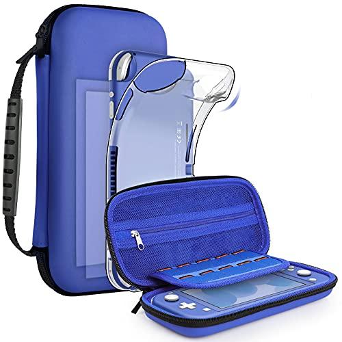 GeeRic Funda compatible para Switch Lite, Accesorio silicona funda y 2pcs Protector de Pantalla compatible para switch lite,4 tapas de pulgar y agarre de almacenamiento,azul