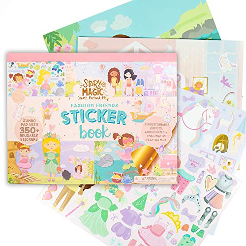 "Story Magic Large Sticker Book by Horizon Group USA, Create Your Own Magical Adventures Inside a 14"" x 11"" Sticker Book, Over 350 Removable Stickers, Sticker Books for Kids 2-4, Reusable Sticker Book"