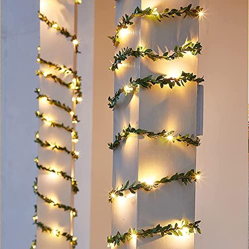 Led Stringa Luci a Batteria - 2M LED Ghirlanda luminosa a forma di foglie - Rame filo Ghirlanda Catena Luminose Lucine Fata Luci per Natale Matrimonio Decorative Festa Interno Natalizie letto Camera
