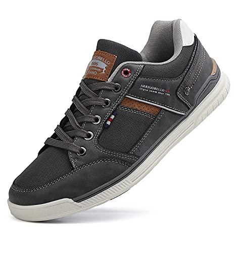 TARELO Freizeitschuhe Herren Sneakers Mode PU Leder Walkingschuhe Atmungsaktiv Herrenschuhe Sportschuhe Fitnessschuhe Outdoorschuhe Größe 41-46(Grau, Numeric_46)