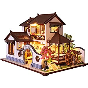 CUTEBEE Dollhouse Miniature with Furniture, DIY Dollhouse Kit Plus Dust Proof and Music Movement, 1:24 Scale Creative Room Idea (Brown)