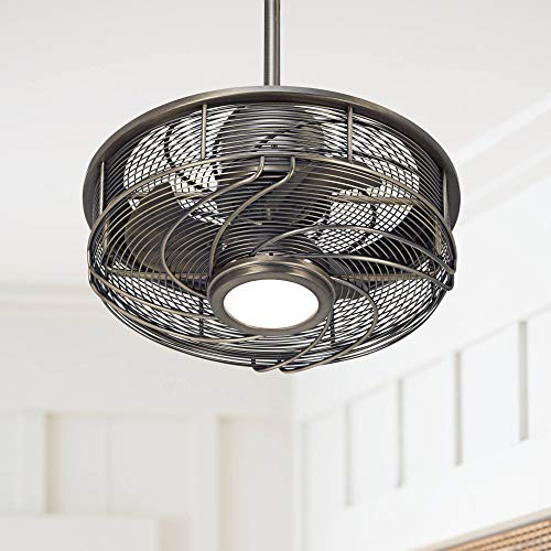 17' Casa Vestige Modern Outdoor Ceiling Fan with Light LED Cage Antique Bronze Frosted...