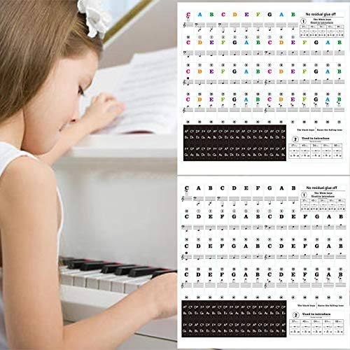 VEGCOO 2 Pack Piano and Keyboard Music Note Full Set Stickers, Piano Key...