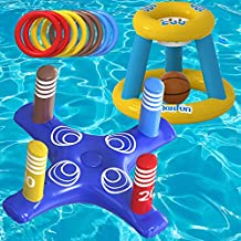 Max Fun Pool Floats Toys Games Set - Floating Basketball Hoop Inflatable Cross Ring Toss Pool Game Toys for Kids Adults Swimming Pool Water Game