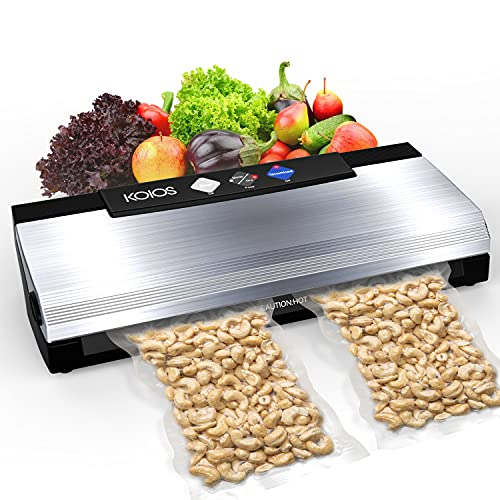 KOIOS Vacuum Sealer Machine, 85kPa Automatic Food Sealer for Food Savers with Starter Kits, Dry & Moist Food , Easy to Clean, Compact Design and Built-in Cutter