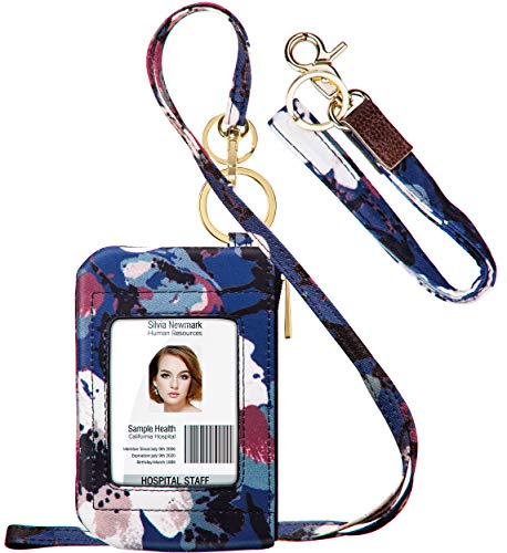 ID Badge Holder with Lanyard, Fashion Lanyard Wallet with 1 Clear ID Window, Credit Cards Coins Cash Pouch with a Detachable Neck Lanyard and a Wrist Lanyard (Navy Blue White Floral)