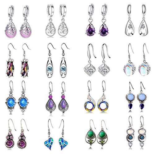 16 pares de aretes colgantes de cristal en forma de lágrima, para mujer, multicolor bohemio, aretes de aro, coloridos con gancho, kit de pendientes de tuerca para niñas