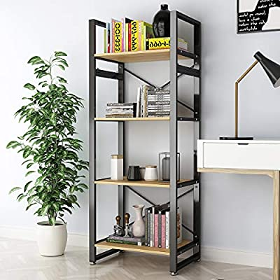 DEWEL 4 Shelf Bookshelf Industrial Bookcase Vintage Rustic Open Bookcase Storage Rack Metal and Wood Bookcase 61'' High Tall Bookcase Furniture Standing Storage Shelf Units for Home Office