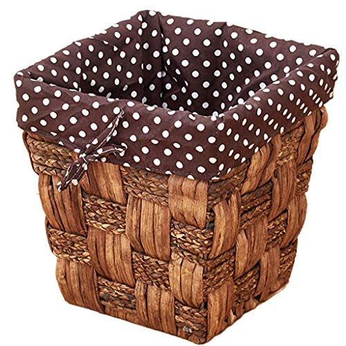 YLKCU Round Rattan Waste Basket,small Wicker Woven Storage Baskets,square Decorative Trash Can With Liner,office Waste Bin Recycle Bin For Cafe,home A 17.5x17.5x21.5cm(7x7x8inch)