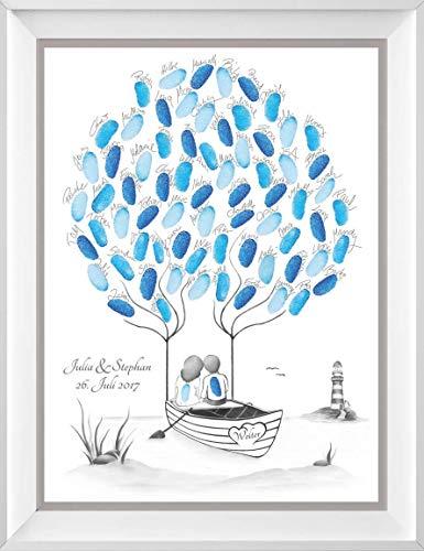 Wedding Tree maritim personalisiert auf 29,7x42cm Poster, Hochzeit Geschenke Boot, Alternative zur Wedding Tree Leinwand und zum Hochzeitsgästebuch, maritim, Boot und Leuchtturm zur Hochzeit
