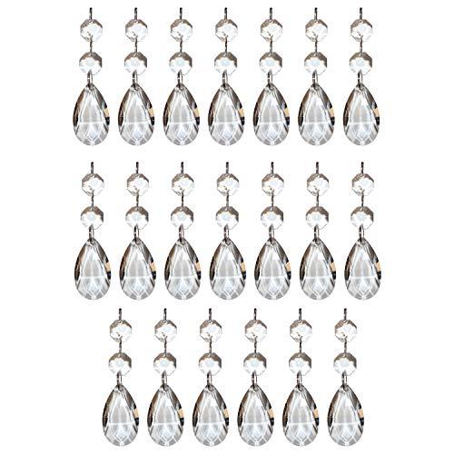 Kristall-Perlen Kronleuchter Tropfen (20 Stck.) - 3,8cm Teardrops - Kristall Glas Prisma Anhänger Perlen für Decken Tropfen Lichtbrechung, Hochzeit baum Dekoration Schmuckherstellung DIY Kunstprojekte