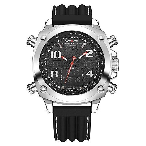 NAVIFORCE Herren Analog-Digital Quarzwerk Uhr mit Kautschuk Armband Wasserdicht Kalender 9089 Schwarz