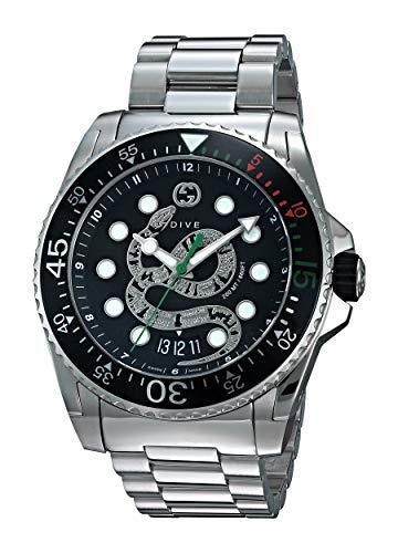Gucci Dive Herren-Armbanduhr 40mm Armband Edelstahl Schweizer Quarz YA136218