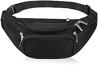 Fanny Pack 5-Zipper Pockets Waist Bag Belt Nylon Multifunctional For Women Men Waist Bag Pack for Hiking Running Cycling Camping Climbing Travel (Black)
